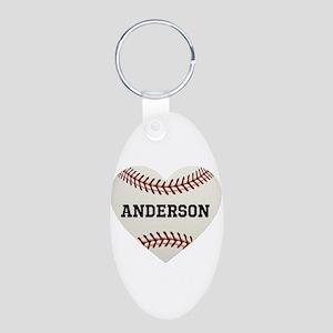 Baseball Love Personalized Aluminum Oval Keychain