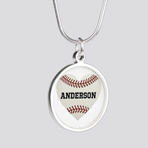 Baseball Love Personalized Silver Round Necklace