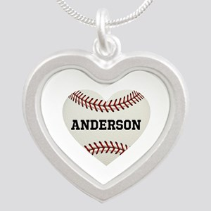 Baseball Love Personalized Silver Heart Necklace
