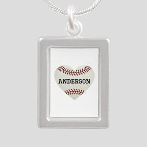 Baseball Love Personaliz Silver Portrait Necklace