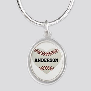 Baseball Love Personalized Silver Oval Necklace