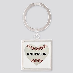 Baseball Love Personalized Square Keychain