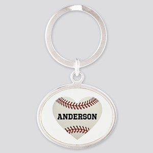 Baseball Love Personalized Oval Keychain