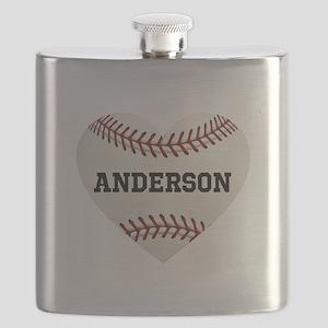 Baseball Love Personalized Flask