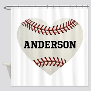 Baseball Love Personalized Shower Curtain