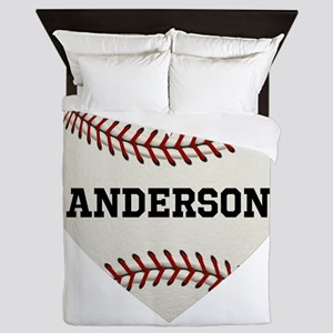 Baseball Love Personalized Queen Duvet