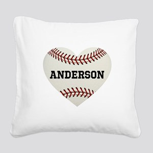 Baseball Love Personalized Square Canvas Pillow