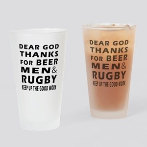 Beer Men and Rugby Drinking Glass