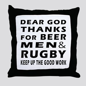 Beer Men and Rugby Throw Pillow