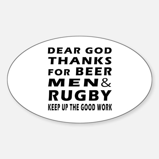 Beer Men and Rugby Sticker (Oval)