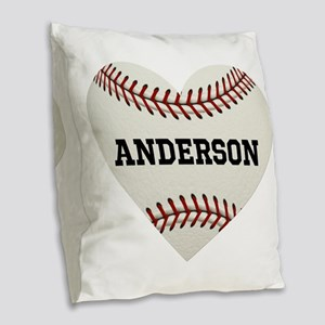 Baseball Love Personalized Burlap Throw Pillow
