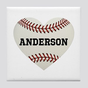 Baseball Love Personalized Tile Coaster