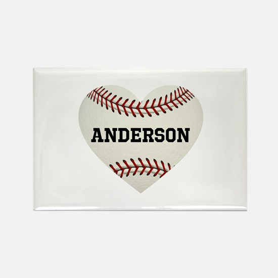 Baseball Love Personalized Rectangle Magnet