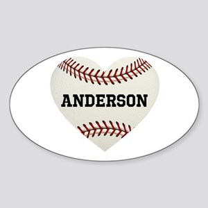Baseball Love Personalized Sticker (Oval)