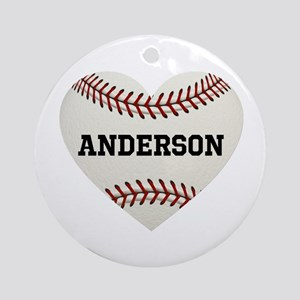 Baseball Love Personalized Round Ornament