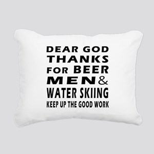 Beer Men and Water Skiing Rectangular Canvas Pillo