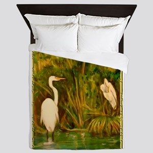 Egrets! Bird, wildlife, wetland art! Queen Duvet