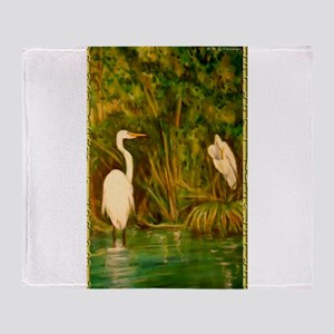 Egrets! Bird, wildlife, wetland art! Throw Blanket
