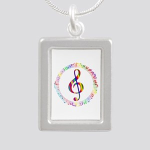 Music in the Round Silver Portrait Necklace