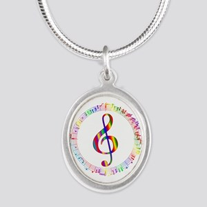 Music in the Round Silver Oval Necklace