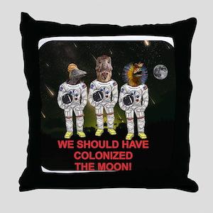 Space Dinos 6 -- Colonize Moon Throw Pillow
