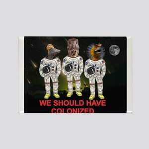 Space Dinos 6 -- Colonize Moon Rectangle Magnet