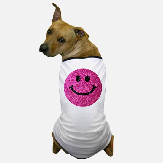 Hot pink faux glitter smiley face Dog T-Shirt