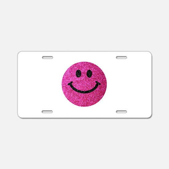 Hot pink faux glitter smiley face Aluminum License