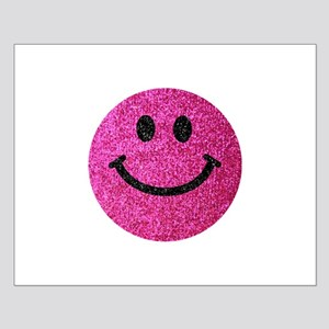 Hot pink faux glitter smiley face Poster Design