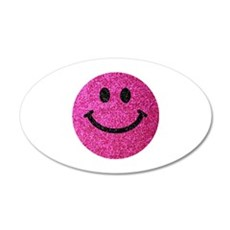 Hot pink faux glitter smiley face Wall Sticker