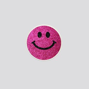 Hot pink faux glitter smiley face Mini Button