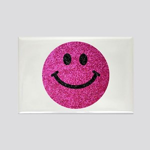 Hot pink faux glitter smiley face Rectangle Magnet