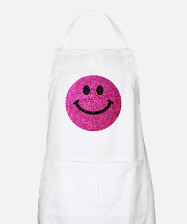 Hot pink faux glitter smiley face Apron