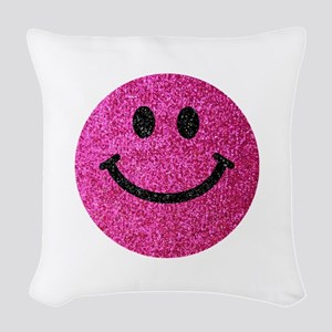 Hot pink faux glitter smiley face Woven Throw Pill