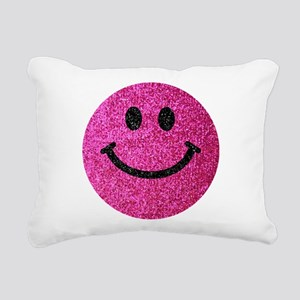 Hot pink faux glitter smiley face Rectangular Canv