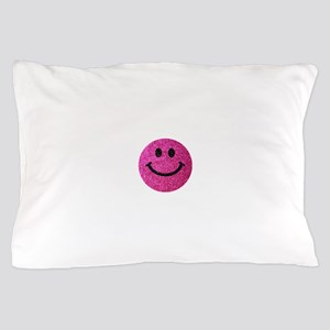 Hot pink faux glitter smiley face Pillow Case