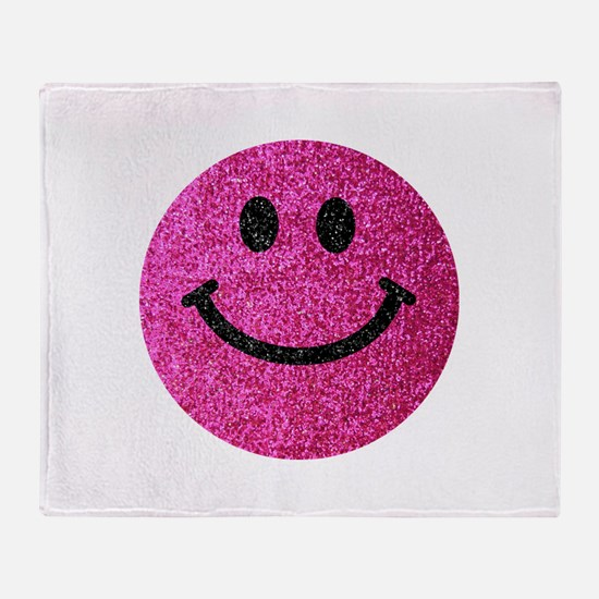 Hot pink faux glitter smiley face Throw Blanket