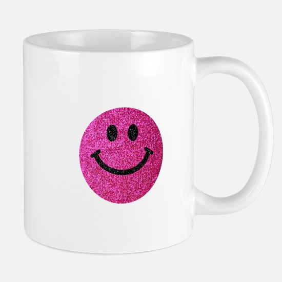 Hot pink faux glitter smiley face Small Mug