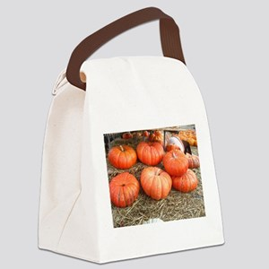 large pumpkins at a pumpkin patch Canvas Lunch Bag