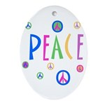 Peace - Multi color mini symbols Oval Ornament