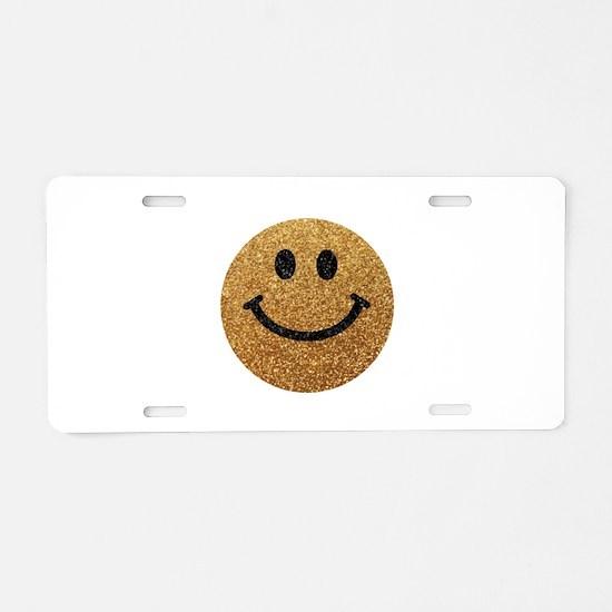 Gold faux glitter smiley face Aluminum License Pla