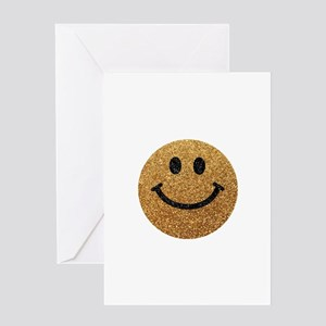 Gold faux glitter smiley face Greeting Card
