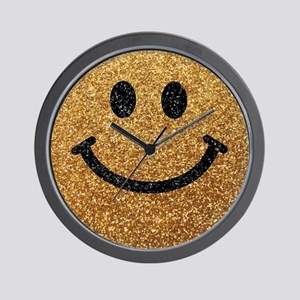 Gold faux glitter smiley face Wall Clock