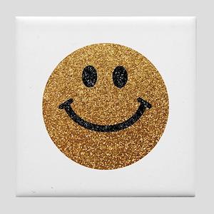 Gold faux glitter smiley face Tile Coaster