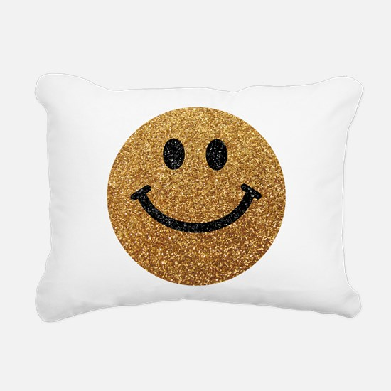 Gold faux glitter smiley face Rectangular Canvas P