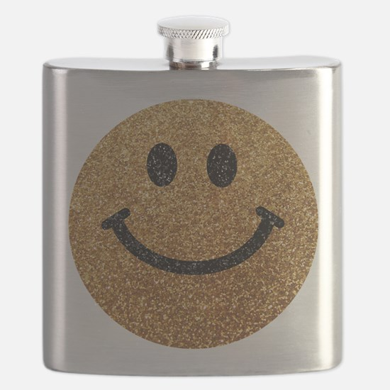 Gold faux glitter smiley face Flask