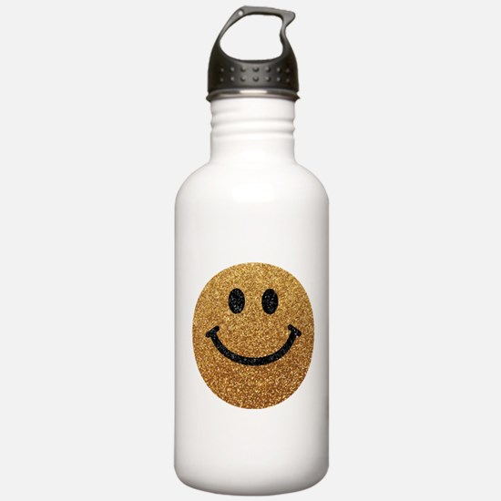 Gold faux glitter smiley face Sports Water Bottle