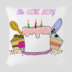 cake lady Woven Throw Pillow