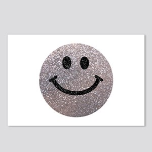 Silver faux glitter smiley face Postcards (Package