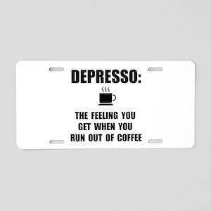 Depresso Coffee Aluminum License Plate